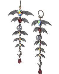 Betsey Johnson - Hematite-tone Crystal & Bead Bat Chandelier Earrings - Lyst