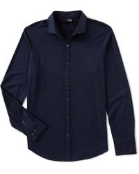 Murano - Liquid Luxury Slim-fit Knit Coatfront Shirt - Lyst