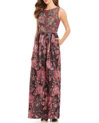 David Meister - Floral Print Beaded Bodice Sleeveless Jacquard Gown - Lyst