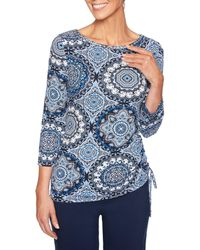 Ruby Rd. - Embellished Boat Neck Medallion Print Side Ruched Top - Lyst