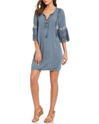 Lucky Brand - Tassel Tie-neck Embroidered Bell Sleeve Dress - Lyst