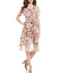 1a0b7aa64483 Band Of Gypsies - Sunny Floral Print Tie Wrap Waist Ruffle Hem A-line Midi