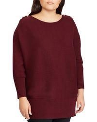 Lauren by Ralph Lauren - Plus Size Button-shoulder Boat Neck Cotton Tunic Sweater - Lyst