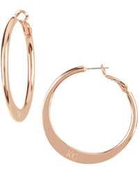 Kenneth Cole - Logo Knife Edge Hoop Earrings - Lyst