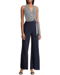 90f139c7821 Lauren by Ralph Lauren - Ritanna Striped Panel Jumpsuit - Lyst