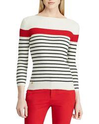 Lauren by Ralph Lauren - Cotton-blend Boat Neck Sweater (lauren Navy/cambridge Green/mascarpone Cream) Women's Clothing - Lyst