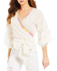 Banjara - Embroidered-trim Wrap Top - Lyst