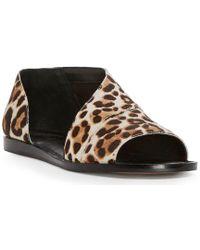 Celvin Leopard Print Calf Hair d'Orsay Open Toe Flats WIBvP3aS