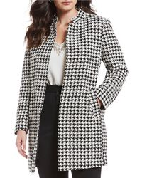 e6826e42c7800 Tahari - Plus Size Star Neck Houndstooth Open Front Topper Jacket - Lyst