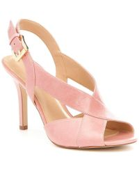 c2c8e568d428 Lyst - Michael Kors Michael Becky Cross Strap Dress Sandals - White ...