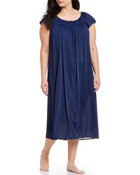 Miss Elaine - Plus Embroidered Flutter-sleeve Nightgown - Lyst