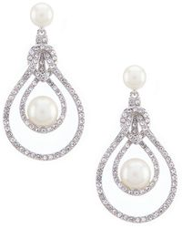 Carolee - Garden Of Pearly Delights Pearl & Pave Openwork Drop Statement Earrings - Lyst