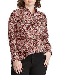 Lauren by Ralph Lauren - Plus Size Cotton Voile Floral Print Button Front Shirt - Lyst