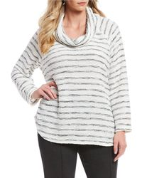 f29bed16889cf ... Sequin Stretch Sweater Pullover - Lyst. Ruby Rd. - Plus Size Cowl-neck  Boucle Stripe Pullover - Lyst