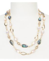 Anne Klein - Abalone Long Strand Necklace - Lyst
