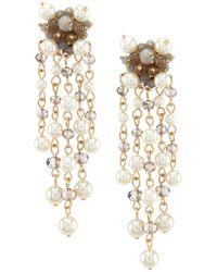 Belle By Badgley Mischka Cluster Bead Pearl Drop Earrings - Metallic