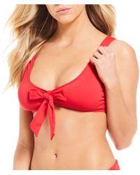Cremieux - Solid Tie Front Bralette Bikini Swimsuit Top - Lyst