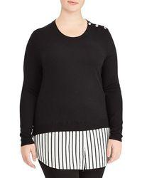 Lauren by Ralph Lauren | Plus Layered Cotton-blend Sweater Top | Lyst