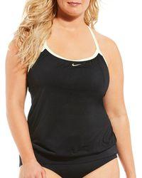 1516257aa591b Nike Plus Size Radical Edge V-back Tankini Top in Black - Lyst