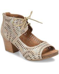 Söfft - Modesto Laser Cut Metallic Suede Lace-up Ghillie Block Heel Sandals - Lyst