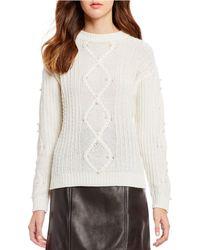 Gianni Bini - Lola Cable Knit Pearl Sweater - Lyst