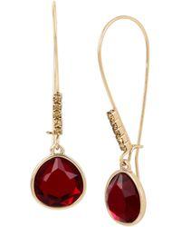 Kenneth Cole - Garnet Stone Long Drop Earrings - Lyst