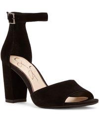 Jessica Simpson - Sherron Suede Ankle-strap Block Heel Sandals - Lyst