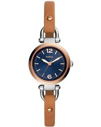 Fossil - Georgia Analog Luggage Leather-strap Watch - Lyst