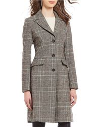 Antonio Melani - Wing Collar Wool Plaid Walker Coat - Lyst