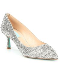 Betsey Johnson - Blue By Jora Glitter Jeweled Kitten Heel Pumps - Lyst