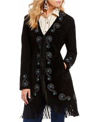 Scully - Fringe Embroidered Suede Jacket - Lyst