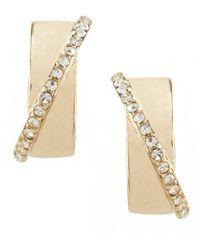 Anne Klein   Pav Crystal Hoop Clip-on Earrings   Lyst