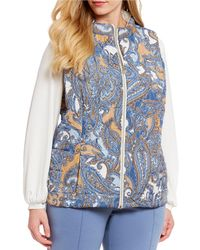 Ruby Rd. - Plus Size Zipper Front Solid-print Quilted Reversible Vest - Lyst