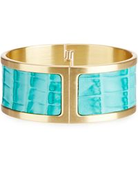 Brahmin - Melbourne Collection Leather Inlay Hinge Cuff Bracelet - Lyst