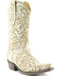 Volatile | Taraji Floral Leather Crackled Tall Pull On Snip Toe Western Boots | Lyst