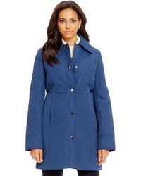 Anne Klein - Snap Front Quilted Walker Coat - Lyst