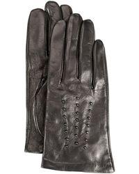 Michael Kors Studded Fleece-lined Leather Gloves - Black