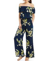 Chelsea & Violet - Off-the-shoulder Short Sleeve Printed Jumpsuit - Lyst