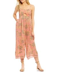 Patrons Of Peace | Floral-printed Cutout Lace-up Back Jumpsuit | Lyst