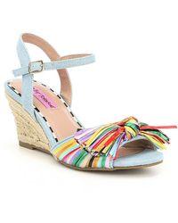 Betsey Johnson - Lizzie Denim Multi Color Raffia Espadrille Wedge Sandals - Lyst