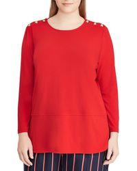 Lauren by Ralph Lauren - Plus Size Button-trim Shoulder Matte Jersey Top - Lyst