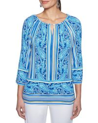 Ruby Rd. - 3/4 Raglan Sleeve Striped Paisley Placement Print Knit Top - Lyst