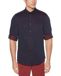 Perry Ellis - Solid Roll-tab Sleeve Yarn-dyed Jacquard Long-sleeve Woven Shirt - Lyst