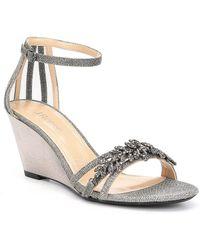 J. Reneé - Mariabella Glitter Mesh Metallic Rhinestone Ornament Ankle Strap Dress Wedges - Lyst