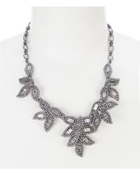 Belle By Badgley Mischka - Fancy Pave Leaf Frontal Necklace - Lyst