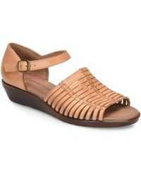 Comfortiva - Fayann Two-piece Leather Wedge Sandals - Lyst