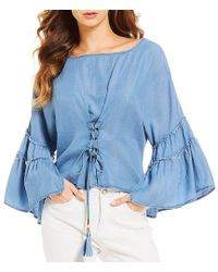 Banjara - Faux-corset Ruffle Bell Sleeve Top - Lyst