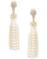 Anne Klein - Pearl Tassel Clip Earrings - Lyst