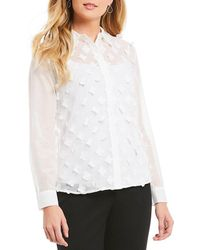 Jones New York - Stitched Floral Applique Long Sleeve Shirt - Lyst