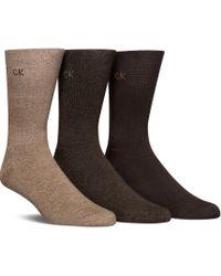 Calvin Klein - Cushion Sole Crew Dress Socks 3-pack - Lyst